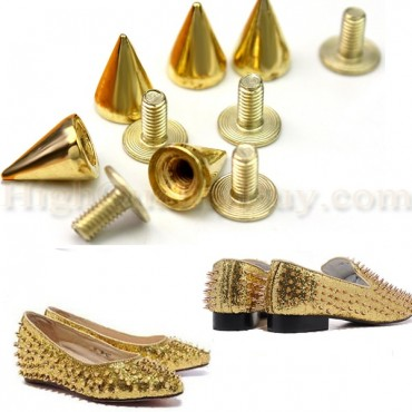 100PCS Gold Color Spikes Cone Studs DIY studs and spikes studs and spikes for clothes leather craft Punk Rock