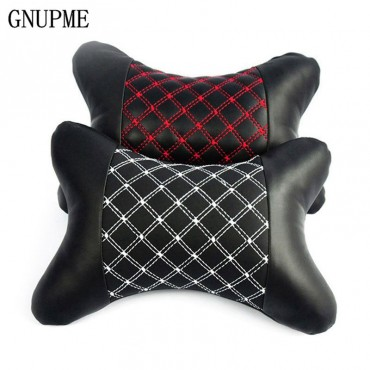 2pcs Genuine Leather Car Neck Pillow Protection Design Safety Auto Headrest Support Rest Pillow Black Auto Safety Accessories