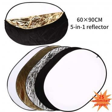 60*90cm 5 in 1 Multi Elliptical Reflector Collapsible Multi Disc Light Reflector for Studio Or Any Photography Situation