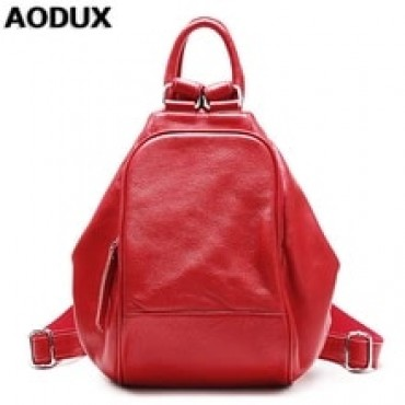 AODUX Elegant 100% Genuine Leather Women Backpack Female Top Layer Cowhide Ladies Bags First Layer Cow Leather Ladies Backpacks