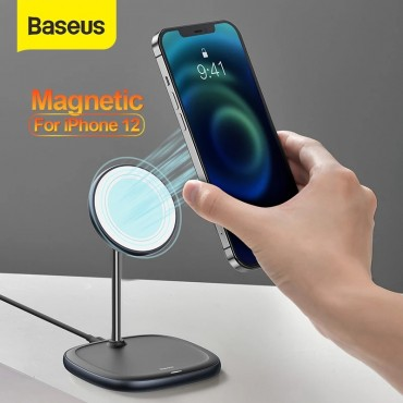 Baseus Magnetic Desktop Phone Stand Wireless Charger For iPhone 12 Pro Max Phone Holder Wireless Charger For iPhone 12 Mini