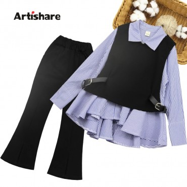 Children Clothes Striped Girls School Clothing Vest + Blouse + Pants Kids Clothes Girls Spring Autumn Tracksuits For Children