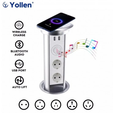 EUR Socket Table Auto lift Electric USB Smart Home TUYA APP Remote Control Bluetooth Audio Desk Wireless Charge Kitchen cabinet