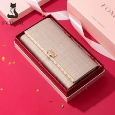FOXER Women Fashion Valentine's Day Gift Wallet Female Cowhide Clutch Bag Card Holder Lady Luxury Coin Purse Chic Evening Bags