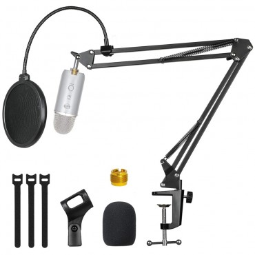 GEVO Microphone Stand With Microphone Windscreen and Dual Layered Pop Filter Suspension Boom Scissor Arm For Blue Yeti Snowball