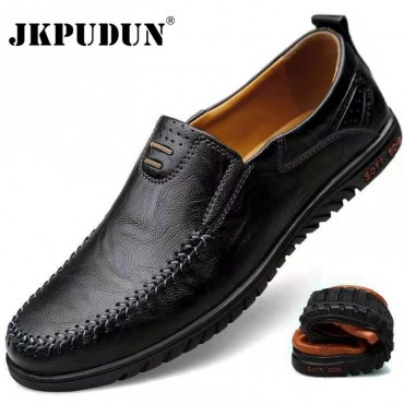 Genuine Leather Men Shoes Luxury Brand 2021 Casual Slip on Formal Loafers Men Moccasins Italian Black Male Driving Shoes JKPUDUN