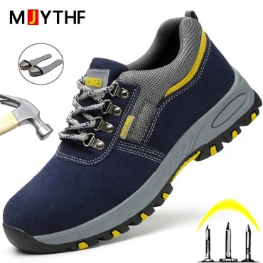 Male Safety Shoes Indestructible Work Shoes Puncture-Proof Work Sneakers Men Shoes Non-slip Work Boots Steel Toe Shoes Footwear