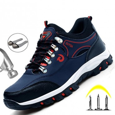 Men Breathable Work Sneakers Steel Toe Cap Work Safety Shoes For Men Safety Boots Anti-Puncture Indestructible Work Shoes Male