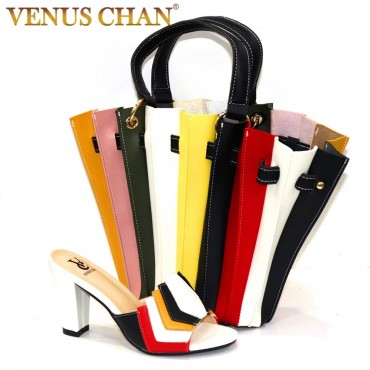 New Arrival Italian Design 2020 Hot Selling Multicolor Color Classic and Top-Grade Style Party Wedding Ladies Shoes and Bag Set
