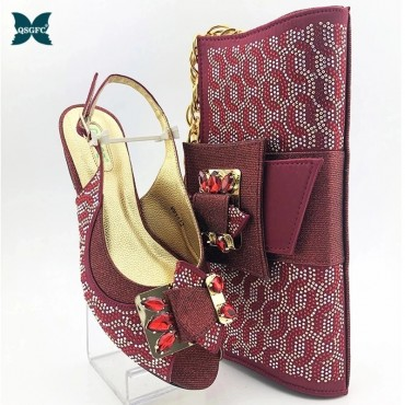 New Coming Matching Lady Shoes and Bag Set In Heels Matching Women Shoes and Bag Set for Royal Wedding in Wine Color
