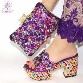 Purple Color Matching Women Shoe and Bags Set Decorated with Rhinestone African Shoe and Bag Set for Party In Women Italy Shoes
